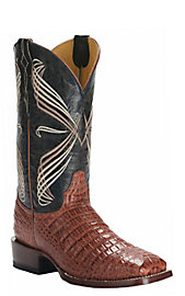 Men's Shoes Boots Mens Black Work Western Cowboy Boots Square Toe Crocodile Belly Pattern Leather