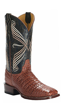 Cavender's by Old Gringo Men's Cognac Caiman Belly Print Square Toe Western Boots