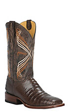 Cavender's Chocolate Caiman Belly Print Square Toe Western Boots