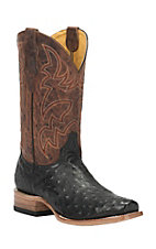 Cavender's by Old Gringo Men's Black Full Quill Ostrich Square Toe Exotic Western Boots