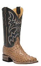 Cavender's by Old Gringo Men's Saddle Tan Full Quill Ostrich Square Toe Exotic Western Boots