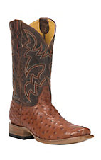 Cavender's by Old Gringo Men's Brandy Full Quill Ostrich Punchy Square Toe Exotic Western Boots