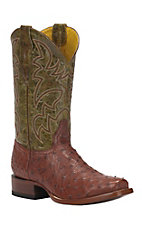 Cavender's by Old Gringo Men's Almond Full Quill Ostrich Punchy Square Toe Exotic Western Boots