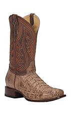 XAN Cavender's by Old Gringo Men's Burnt Tan Caiman Punchy Square Toe Exotic Western Boots