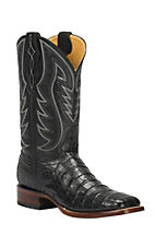 Cavender's by Old Gringo Men's Black Caiman Square Toe Exotic Western Boots
