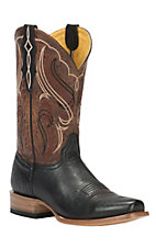 Cavender's by Old Gringo Men's Black Smooth Ostrich Square Toe Exotic Western Boots