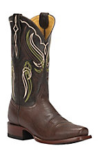 Cavender's by Old Gringo Men's Kango Brown Smooth Ostrich Punchy Square Toe Exotic Western Boots