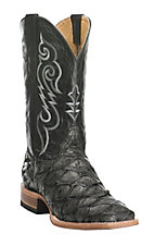 XAN Cavender's by Old Gringo Men's Hubbard Black Pirarucu Exotic Square Toe Boots