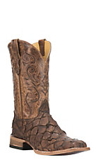 Cavender's by Old Gringo Men's Chocolate Pirarucu Broad Square Toe Boots
