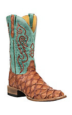 Cavender's by Old Gringo Men's Hubbard Cognac and Sky Blue Pirarucu Exotic Square Toe Boots