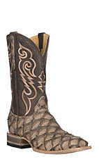 Cavender's by Old Gringo Men's Taupe Matte Pirarucu w/ Brown French Roast Exotic Wide Square Toe Boots