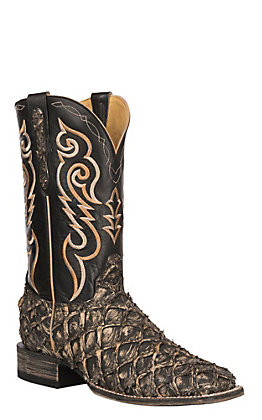 Cavender's by Old Gringo Men's Black Pirarucu Wide Square Toe Exotic Western Boot