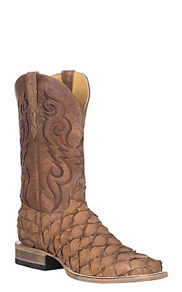 Cavender's by Old Gringo Men's Cappuccino Matte Pirarucu with Bone Goat Shaft Exotic Wide Square Toe Boots