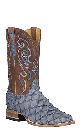 Cavender's by Old Gringo Men's Denim Matte Pirarucu with Brass Brown Shaft Exotic Wide Square Toe Boots
