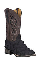 Cavender's by Old Gringo Men's Black Matte Pirarucu w/ Brown French Roast Shaft Exotic Wide Square Toe Boots