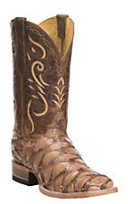 Cavender's by Old Gringo Men's Hubbard Tan & Brown Pirarucu Exotic Square Toe Boots