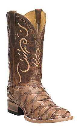 Cavender's by Old Gringo Men's Hubbard Tan Pirarucu Square Toe Exotic Western Boots