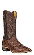 Cavender's by Old Gringo Men's Hubbard Chocolate Brown Pirarucu Exotic Square Toe Boots