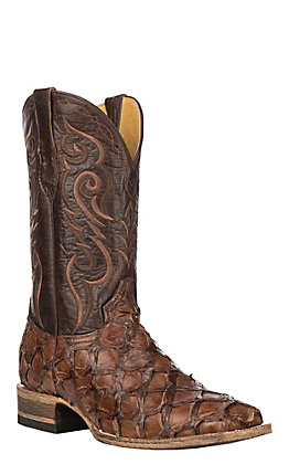 Cavender's by Old Gringo Men's Chocolate Glaze Pirarucu Square Toe Exotic Western Boots