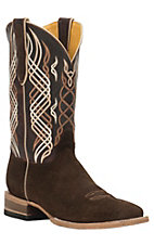 Cavender's by Old Gringo Men's Brown Suede Hippo Print Square Toe Western Boots
