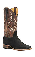 Cavender's by Old Gringo Men's Black Suede Hippo Print Square Toe Western Boots