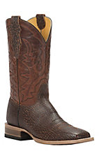 Cavender's by Old Gringo Men's Brown Sanded Shark Print Square Toe Western Boots