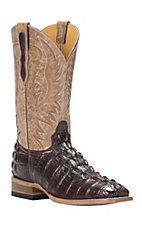 Cavender's by Old Gringo Men's Black Cherry Gator-Tail Print Square Toe Western Boots