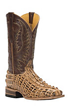 Cavender's by Old Gringo Men's Tan Burnished Gator-Tail Print Square Toe Western Boots