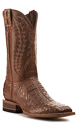 Cavender's by Old Gringo Men's Tan Caiman Wide Square Toe Exotic Western Boot