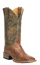 Cavender's by Old Gringo Men's Clay Burnished Full Quil Ostrich with Forest Green Upper Exotic Square Toe Boots