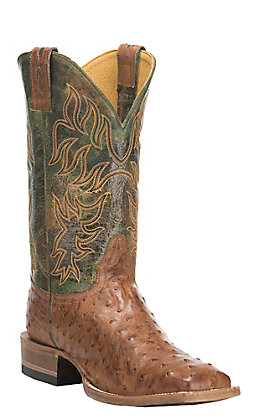 Cavender's by Old Gringo Men's Clay Burnished Full Quill Ostrich Square Toe Exotic Western Boots