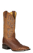 Cavender's by Old Gringo Men's Barnwood Brown Full Quill Ostrich w/ Goat Upper Exotic Western Square Toe Boots