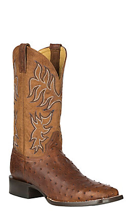 Cavender's by Old Gringo Men's Barnwood Brown Full Quill Ostrich with Goat Upper Exotic Western Square Toe Boots