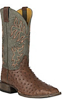 Cavender's by Old Gringo Men's Kango Tobac Full Quill Ostrich w/ Grey Sanded Goat Upper Exotic Western Square Toe Boot