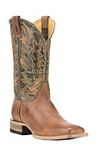 Cavender's by Old Gringo Men's Burnished Tan Smooth Ostrich with Green Upper Exotic Square Toe Boots