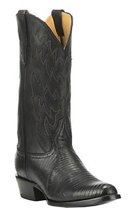 Cavender's by Old Gringo Men's Black Lizard Traditional Toe Exotic Western Boots