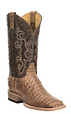 Cavender's by Old Gringo Men's Tan Hornback Gator with Chocolate Upper and Brass Embroidery Western Square Toe Boots