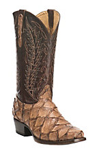 Cavender's by Old Gringo Men's Apache Tan Hubbard Zig Zag Foot with Brown Pirarucu Upper Western Square Toe Boots