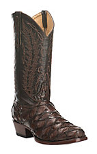 Cavender's by Old Gringo Men's Chocolate & Dark Apache Brown Pirarucu Exotic Square Toe Boots