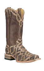 Cavender's by Old Gringo Men's Brown Diamond Print with Chocolate Upper Western Square Toe Boots