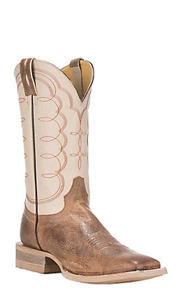 Cavender's by Old Gringo Men's Tan & White Square Toe Western Boots