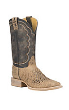 Cavender's by Old Gringo Men's Cognac Fish Print with Black Upper Western Square Toe Boots