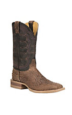 Cavender's by Old Gringo Men's Dublin Brown Monk Fish Print with Chocolate Upper Square Toe Boots