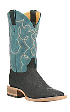 Cavender's by Old Gringo Men's Black with Turquoise Upper Western Square Toe Boots