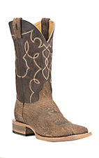 Cavender's by Old Gringo Men's Tan with Chocolate Upper Western Square Toe Boots