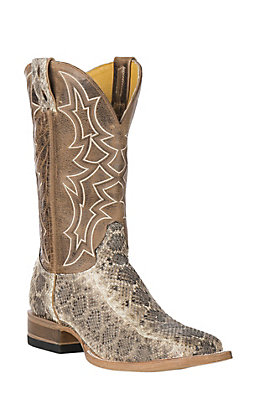 Cavender's by Old Gringo Men's Natural Rattlesnake and Tan Goat Wide Square Toe Exotic Western Boots