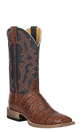 Cavender's by Old Gringo Men's Cognac & Blue Giant Gator Print Square Toe Western Boot