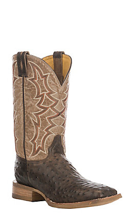 Cavender's by Old Gringo Men's Rustic Brown & Tan Ostrich Print Square Toe Western Boots
