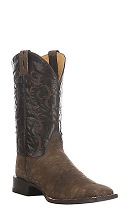 Cavender's by Old Gringo Men's Brown Suede Crocodile Belly Print Square Toe Western Boot