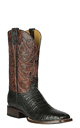 Cavender's by Old Gringo Men's Black Oil Pull-Up Fuscus Belly Caiman with Rust Brown Goat Upper Exotic Western Square Toe Boots